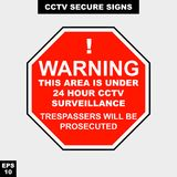 Cctv, alarm, monitored and 24 hour video camera sign in  style version, easy to use and print. Sign and symbol for office and factory worker, attention the rule Royalty Free Stock Image