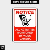 Cctv, alarm, monitored and 24 hour video camera sign in  style version, easy to use and print. Sign and symbol for office and factory worker, attention the rule Royalty Free Stock Photos