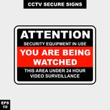 Cctv, alarm, monitored and 24 hour video camera sign in  style version, easy to use and print. Sign and symbol for office and factory worker, attention the rule Royalty Free Stock Photo