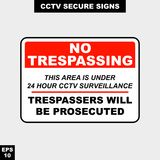 Cctv, alarm, monitored and 24 hour video camera sign in  style version, easy to use and print. Sign and symbol for office and factory worker, attention the rule Royalty Free Stock Images