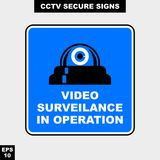 Cctv, alarm, monitored and 24 hour video camera sign in  style version, easy to use and print. Sign and symbol for office and factory worker, attention the rule Stock Photos