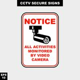 Cctv, alarm, monitored and 24 hour video camera sign in  style version, easy to use and print. Sign and symbol for office and factory worker, attention the rule Stock Photography