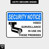 Cctv, alarm, monitored and 24 hour video camera sign in vector style version, easy to use and print. Sign and symbol for office and factory worker, attention the Royalty Free Stock Photo
