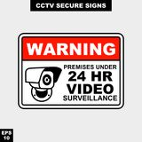 Cctv, alarm, monitored and 24 hour video camera sign in vector style version, easy to use and print. Sign and symbol for office and factory worker, attention the Royalty Free Stock Photography