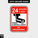 Cctv, alarm, monitored and 24 hour video camera sign in vector style version, easy to use and print. Sign and symbol for office and factory worker, attention the Stock Photo