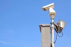 CCTV on blue sky Royalty Free Stock Photo