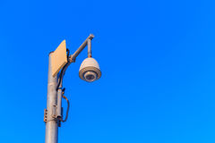 Cctv with blue sky background. Royalty Free Stock Photography
