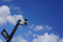 CCTV on blue sky Royalty Free Stock Images