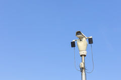 CCTV on blue sky Royalty Free Stock Image