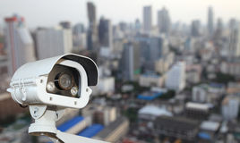 CCTV with Blurring City in background Royalty Free Stock Photo