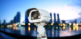 CCTV with Blurring City in night background. Stock Photography