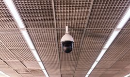 CCTV in building at airport terminal ,Security camera monitor. For privacy Stock Image