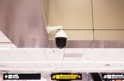 CCTV in building at airport terminal ,Security camera monitor. For privacy Royalty Free Stock Images