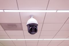CCTV in building at airport terminal ,Security camera monitor. For privacy Royalty Free Stock Photography