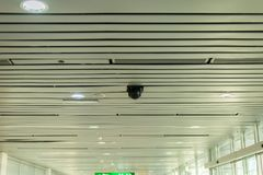 CCTV in building at airport terminal ,Security camera monitor for privacy. CCTV in building at international airport terminal ,Security camera monitor for Stock Photography