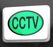 CCTV Button Shows Camera Monitoring Royalty Free Stock Photography