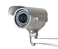 Cctv camera. Fine image of classic cctv infrared security camera isolated on white Stock Photo