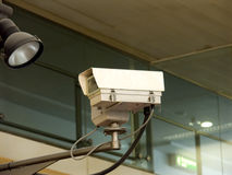 CCTV camera. CCTV surveillance camera pointing to the left Stock Photo