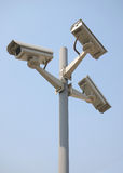 Cctv Camera. Over gray background stock photo