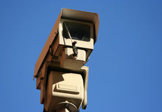 CCTV camera against blue sky Royalty Free Stock Image