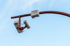 CCTV camera against a blue sky Stock Image