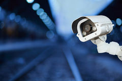 CCTV camera with blurring background. Stock Photo