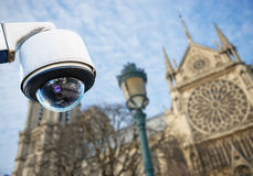 CCTV camera with church or cathedral. Security CCTV camera or surveillance system with church or cathedral on blurry background Stock Photo