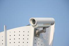 Cctv camera. Closeup image of CCTV security camera outdoor with blue sky royalty free stock photos