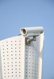Cctv camera. Closeup image of CCTV security camera outdoor with blue sky Royalty Free Stock Images
