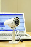 Cctv camera and computer Royalty Free Stock Image