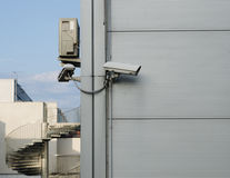 CCTV camera at the corner of the building Stock Photo
