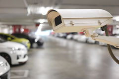 CCTV camera digital video recorder in car park. Royalty Free Stock Photography