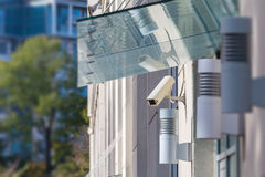 CCTV camera on the front of the house Royalty Free Stock Photos
