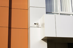 CCTV camera front of office building royalty free stock photography