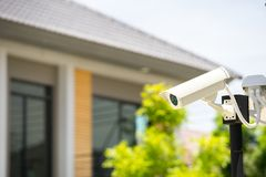 CCTV camera in home village. In summer stock photography