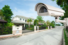 CCTV Camera. With house in background royalty free stock images