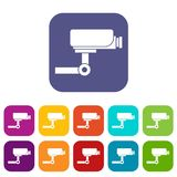 CCTV camera icons set. Vector illustration in flat style in colors red, blue, green, and other Royalty Free Stock Images