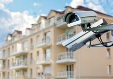 CCTV camera with modern luxury residence Royalty Free Stock Photography