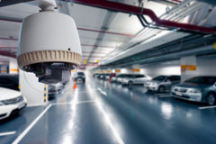 CCTV Camera Operating in car park Royalty Free Stock Photography