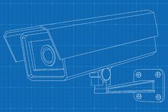 CCTV camera. Outline vector illustration on blueprint background.  stock illustration