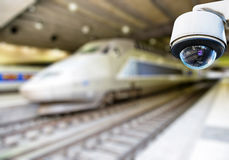 CCTV camera in railway station Stock Photos