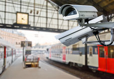 CCTV camera in railway station Royalty Free Stock Photos
