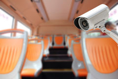 CCTV Camera security in a bus Stock Images