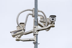 CCTV camera. Security camera on the wall. Private property prote Stock Images