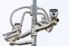 CCTV camera. Security camera on the wall. Private property prote Stock Photo