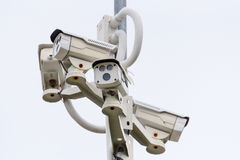 CCTV camera. Security camera on the wall. Private property prote Stock Image