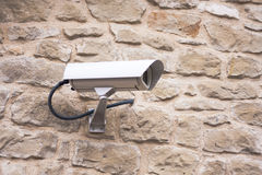 CCTV camera. Security camera on the wall. Royalty Free Stock Photo
