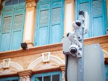 CCTV camera security in a city Stock Photography