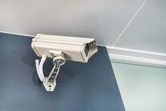 Cctv Camera Security On Wall Background For Safety Concept Stock Photo
