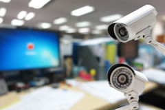 CCTV Camera security operating in office building Stock Images
